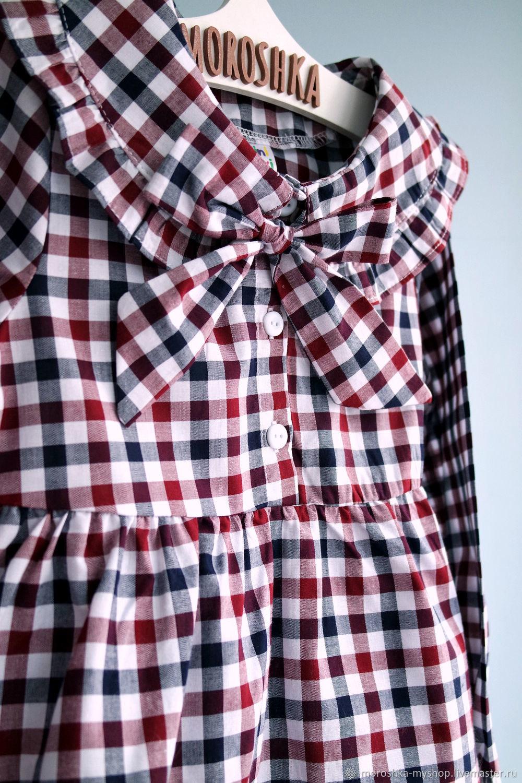 Платье для девочки в клетку Бордо