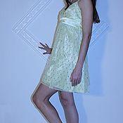 Одежда ручной работы. Ярмарка Мастеров - ручная работа Коктейльное платье желтого цвета. Handmade.