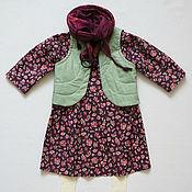 Платье с жилетом для девочки в фолк-стиле