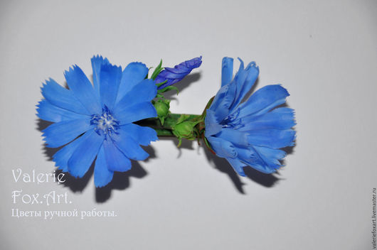 Заколка. Цикорий . Цветы ручной работы.  Handmade. Valerie Fox.Art.. Интернет-магазин Ярмарка Мастеров