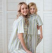 Одежда handmade. Livemaster - original item Pajamas familily ENJOY green stripe. Handmade.