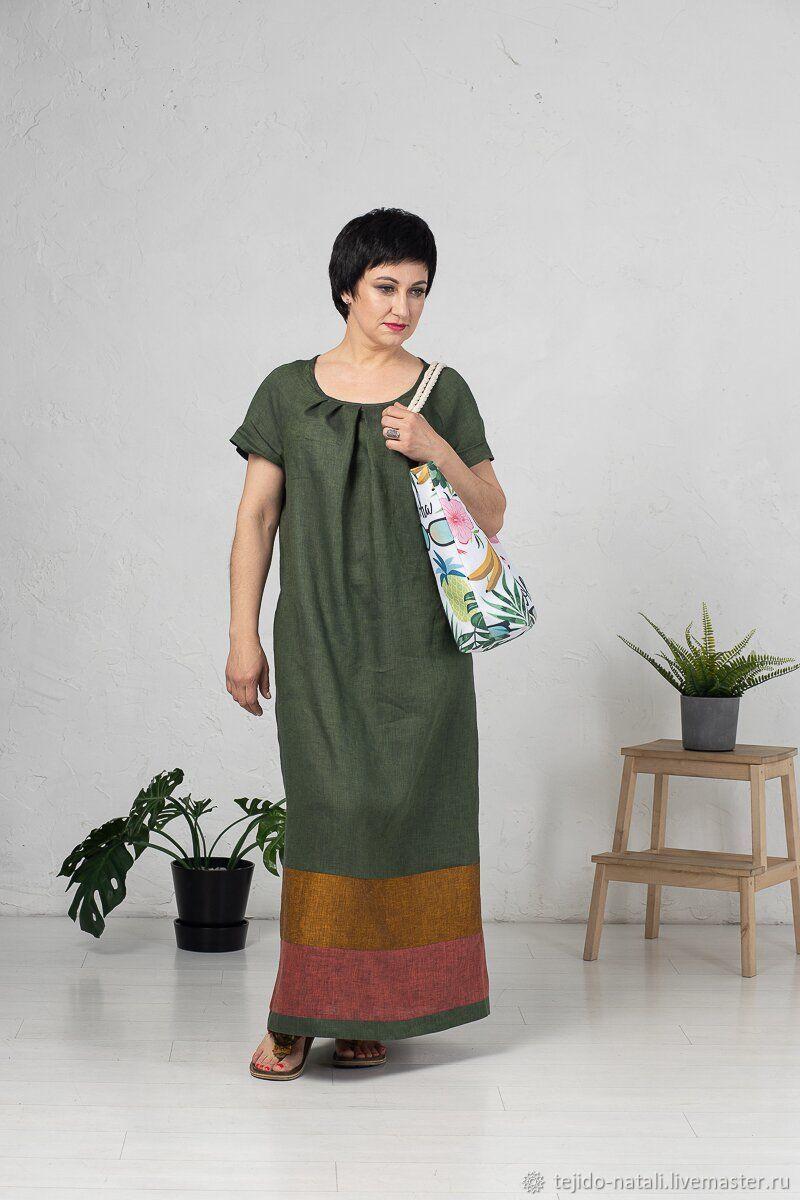 Платья ручной работы. Ярмарка Мастеров - ручная работа. Купить Авторское льняное платье в пол зеленое. Handmade. Летнее платье