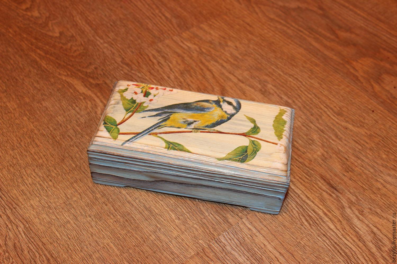 """Шкатулки ручной работы. Ярмарка Мастеров - ручная работа. Купить Купюрница """"Синичка"""". Handmade. Голубой, птица на ветке"""