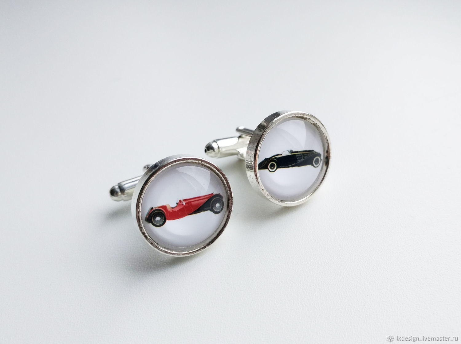 Cufflinks silver-plated Red-and-black retro cars (large), Cuff Links, Moscow,  Фото №1