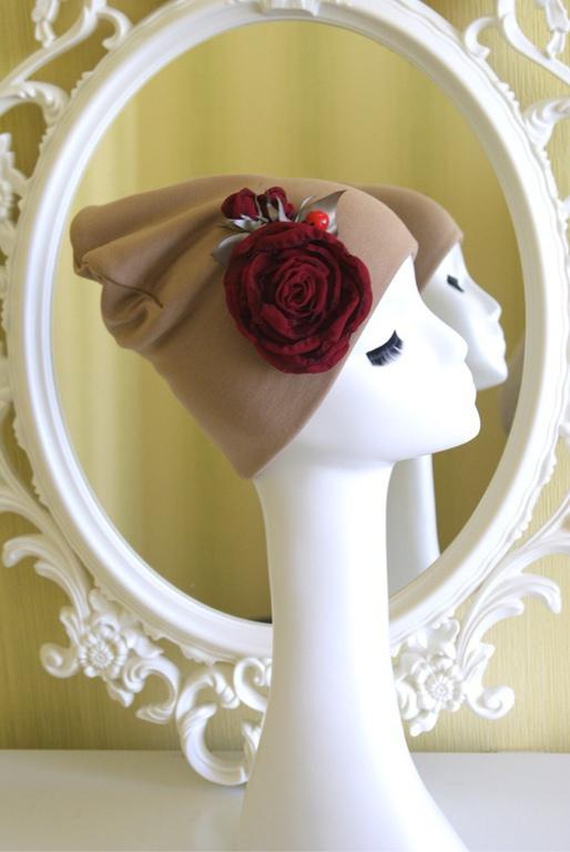 Шапки ручной работы. Ярмарка Мастеров - ручная работа. Купить Утепленная шапочка с цветком и божьей коровкой. Handmade. Шапочка с цветком