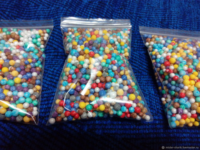 Шарики пенопластовые разноцветные 0.3 - 0.5 см, Основа для флористики, Пермь,  Фото №1