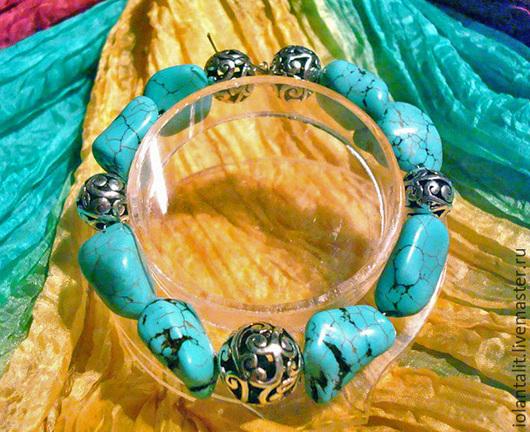 """Браслеты ручной работы. Ярмарка Мастеров - ручная работа. Купить Браслет """"Тибетский, бирюзовый"""". Handmade. Бирюзовый, браслет голубой"""