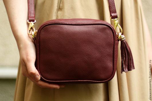 """Женские сумки ручной работы. Ярмарка Мастеров - ручная работа. Купить Кожаная бордовая сумка """"Leah"""", кожаная женская сумка. Handmade."""