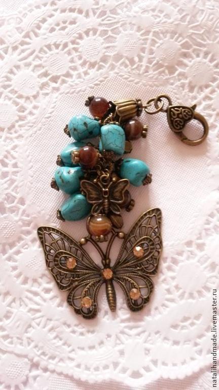 """Брелоки ручной работы. Ярмарка Мастеров - ручная работа. Купить Брелок для сумки или ключей """"Волшебные бабочки"""". Handmade. Бирюзовый"""