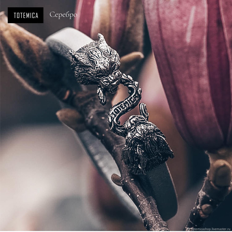 Silver bracelet Lynx, leather, Regaliz bracelet, Moscow,  Фото №1