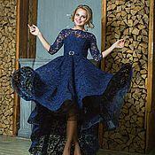 Платья ручной работы. Ярмарка Мастеров - ручная работа Вечернее платье Кружевное синее вечернее платье «Ника каскад». Handmade.