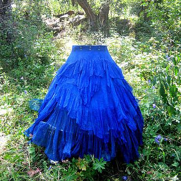 """Одежда ручной работы. Ярмарка Мастеров - ручная работа Юбка стиль бохо на запахе """"Русалка """". Натуральный шёлк. Handmade."""