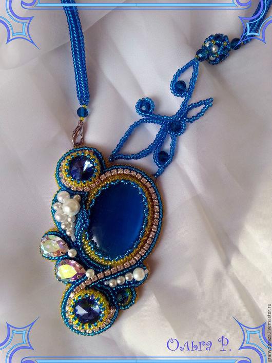 """Кулоны, подвески ручной работы. Ярмарка Мастеров - ручная работа. Купить Кулон """"Голубое озеро"""". Handmade. Кулон с кошачьим глазом"""