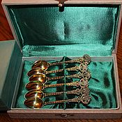 Винтаж handmade. Livemaster - original item Vintage set of coffee spoons, silver 916 PR. Gold plated. Handmade.