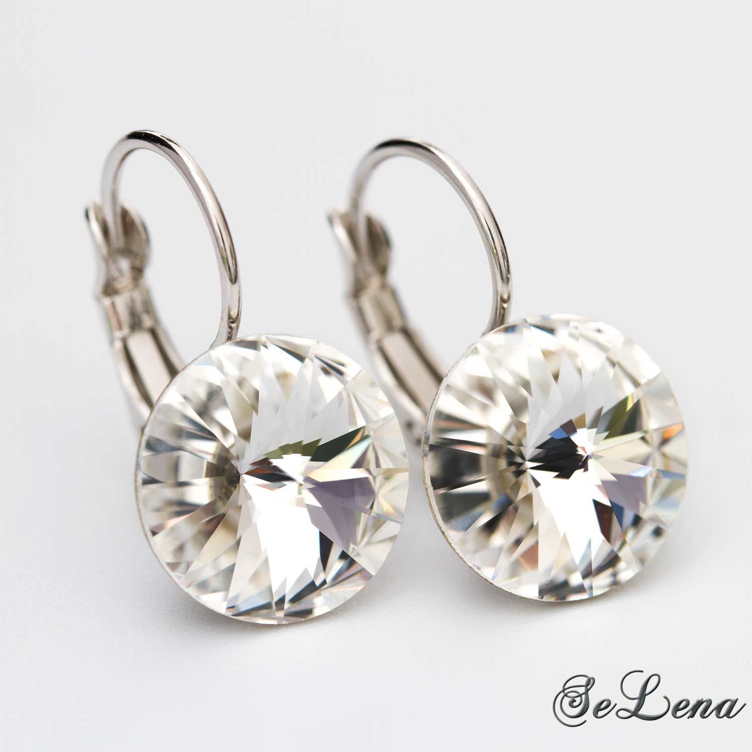 Swarovski Earrings With Round Crystals Colors To Choose From купить на Ярмарке Мастеров In5a3com Серьги St Petersburg