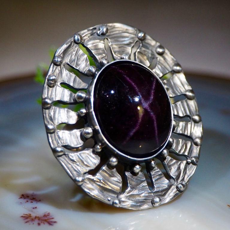 Garnet, silver ring 'Star of the Inca', Rings, Prague,  Фото №1
