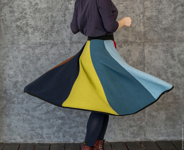 Вязаная юбка разноцветная