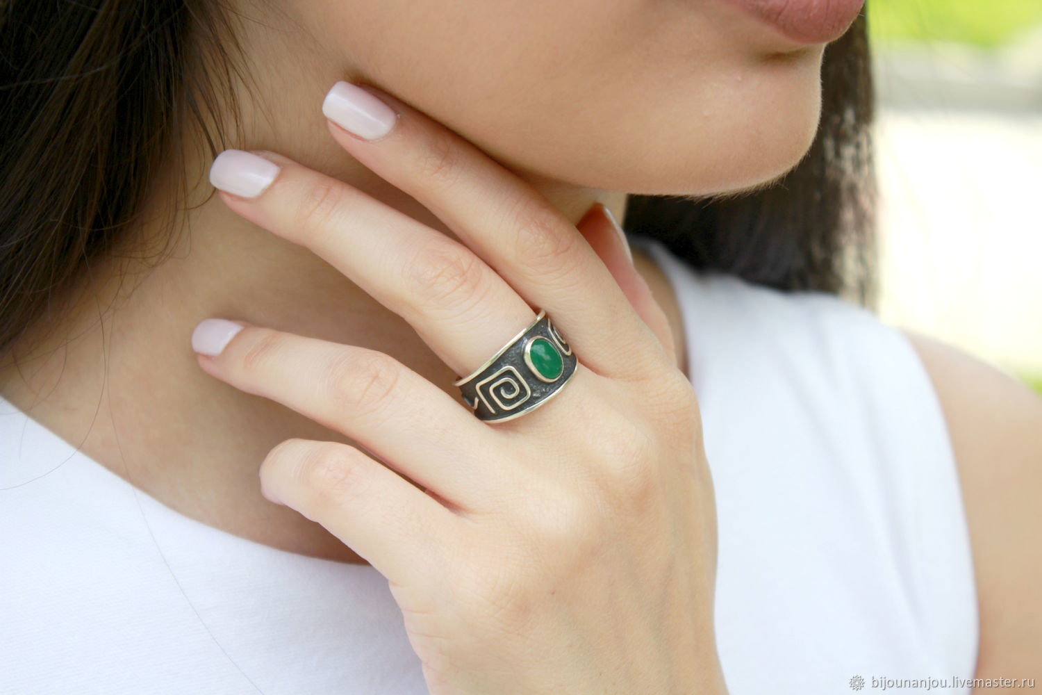 925 sterling silver ring with ethnic pattern and jade, Rings, Yerevan,  Фото №1