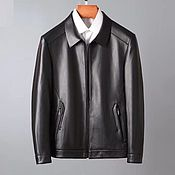 Мужская одежда handmade. Livemaster - original item Men`s outerwear: calf leather jacket, zipper, black color. Handmade.
