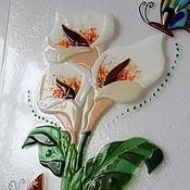 """Для дома и интерьера ручной работы. Ярмарка Мастеров - ручная работа Панно из стекла """"Каллы"""", фьюзинг, 62х30 см. Handmade."""