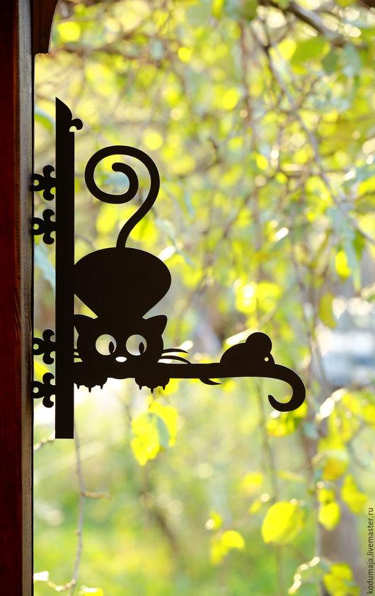 """Экстерьер и дача ручной работы. Ярмарка Мастеров - ручная работа. Купить Кронштейн для цветов (кашпо) """"Кошка-мышка"""". Handmade. Кронштейн"""