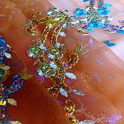 Ткани ручной работы. Ярмарка Мастеров - ручная работа Антикварный индийский палантин с ручной вышивкой №4. Handmade.