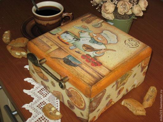 """Корзины, коробы ручной работы. Ярмарка Мастеров - ручная работа. Купить """"Уютный"""" короб. Handmade. Оранжевый, винтажная кухня"""