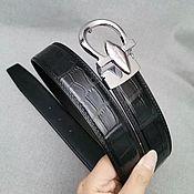 Аксессуары handmade. Livemaster - original item Belt from the abdominal part of the Siamese crocodile, in black.. Handmade.