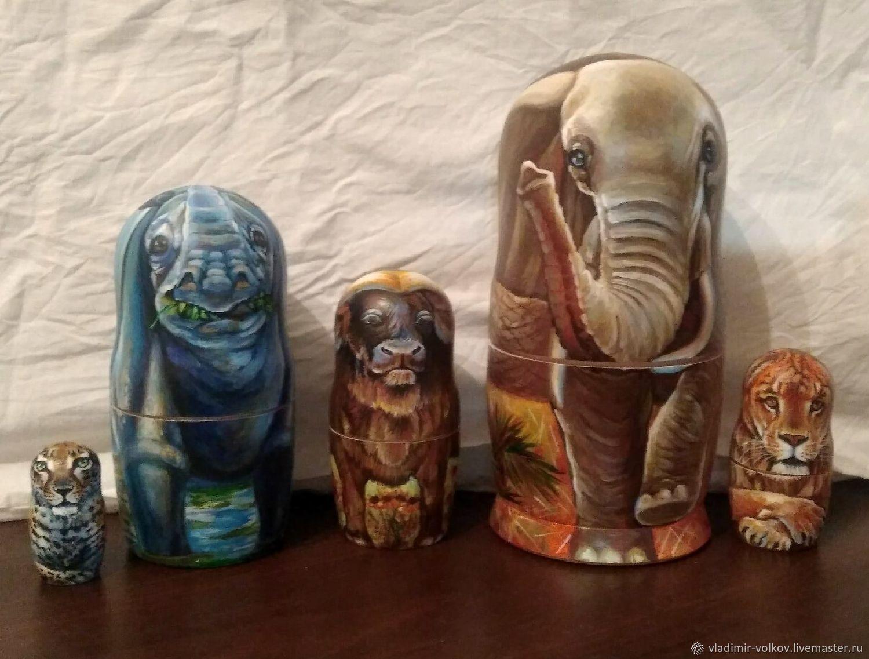 Животные Африки Матрешка авторская на заказ Big Five Africa, Матрешки, Рязань,  Фото №1