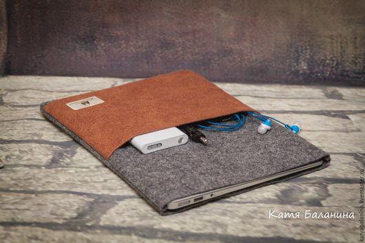 Сумки для ноутбуков ручной работы. Ярмарка Мастеров - ручная работа. Купить чехол для планшета, ноутбука войлочный мужской. Handmade. Серый