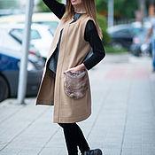 Одежда handmade. Livemaster - original item Cashmere coat with fur pockets - VE0031WL. Handmade.