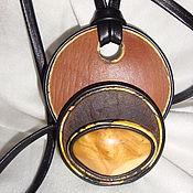 Украшения ручной работы. Ярмарка Мастеров - ручная работа Колье из толстой кожи с березовым капом. Handmade.