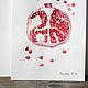 Натюрморт ручной работы. Сочный гранат. K&ART. Интернет-магазин Ярмарка Мастеров. Красный, натюрморт с гранатом, подарок на новый год