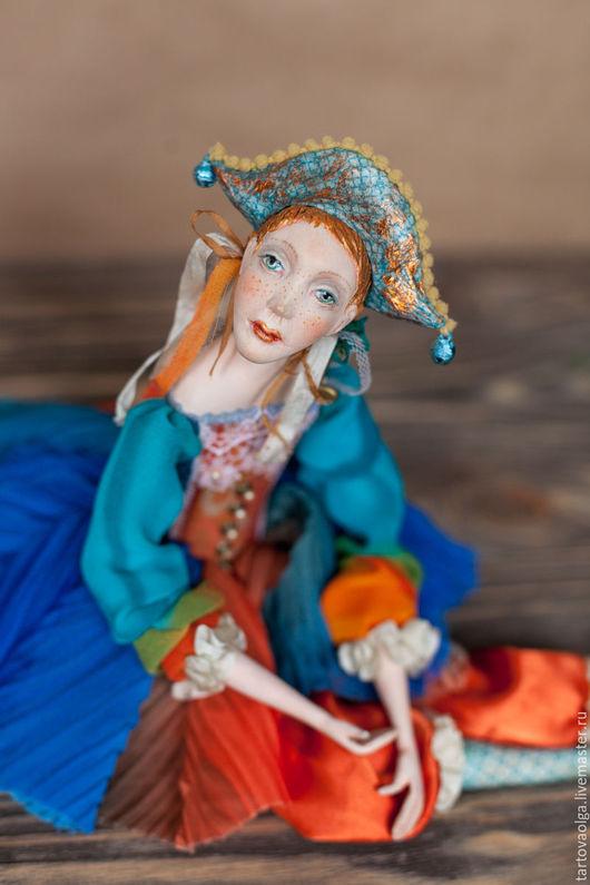 Коллекционные куклы ручной работы. Ярмарка Мастеров - ручная работа. Купить Коллекционная кукла Коломбина подвижная кукла (будуарная). Handmade.