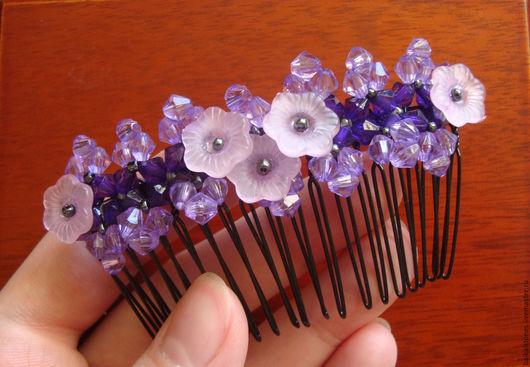 Заколки ручной работы. Ярмарка Мастеров - ручная работа. Купить Гребень для волос. Handmade. Фиолетовый, гребень с цветами, гребешок для волос