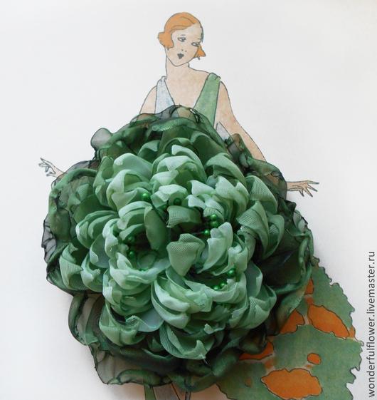 """Броши ручной работы. Ярмарка Мастеров - ручная работа. Купить Брошь-заколка """"Гармония"""". Handmade. Зеленый, заколка-цветок, подарок"""