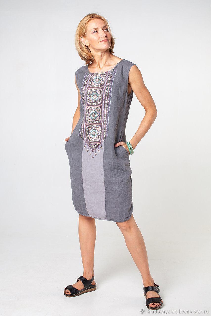 3e01bc74288 Платья ручной работы. Ярмарка Мастеров - ручная работа. Купить Платье  льняное Орнамент вываренный лен ...