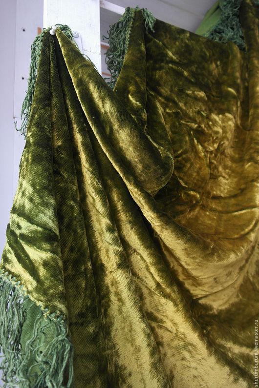 Винтажные предметы интерьера. Ярмарка Мастеров - ручная работа. Купить скатерть старинная велюровая из дворца). Handmade. Хаки, велюр старинный