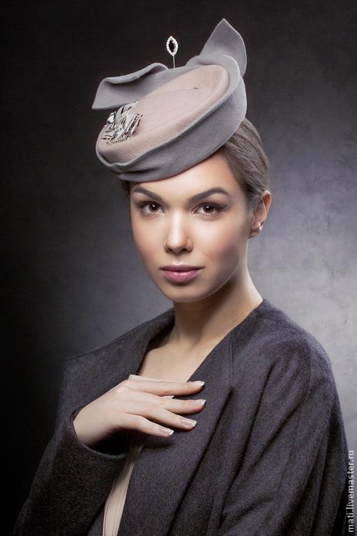 """Шляпы ручной работы. Ярмарка Мастеров - ручная работа. Купить шляпка """" Леди"""". Handmade. Бежевый, английский стиль, фетр"""
