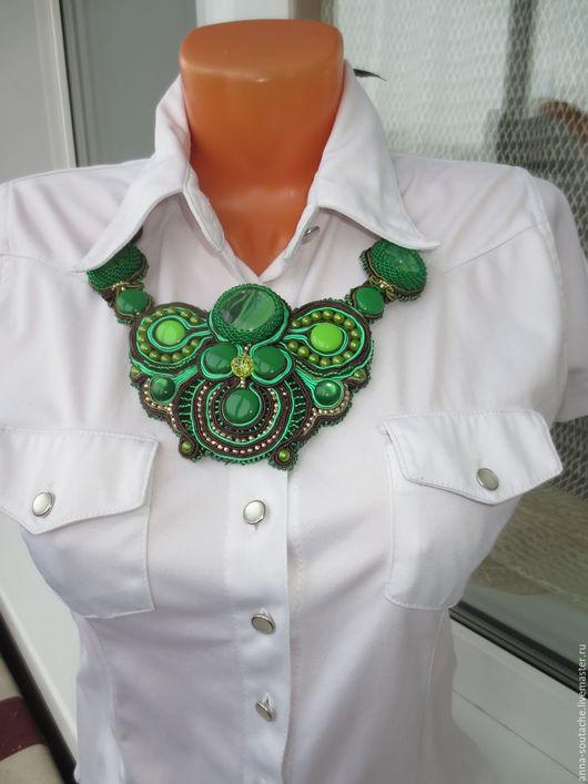 """Колье, бусы ручной работы. Ярмарка Мастеров - ручная работа. Купить Колье """"В ожидании весны"""". Handmade. Зеленый"""