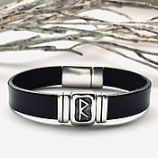 Украшения handmade. Livemaster - original item Bracelet with rune Raido - silver, leather. Handmade.