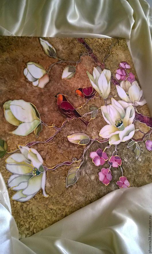 """Картины цветов ручной работы. Ярмарка Мастеров - ручная работа. Купить Картина на шёлке """"Золотой вечер"""", батик. Handmade."""