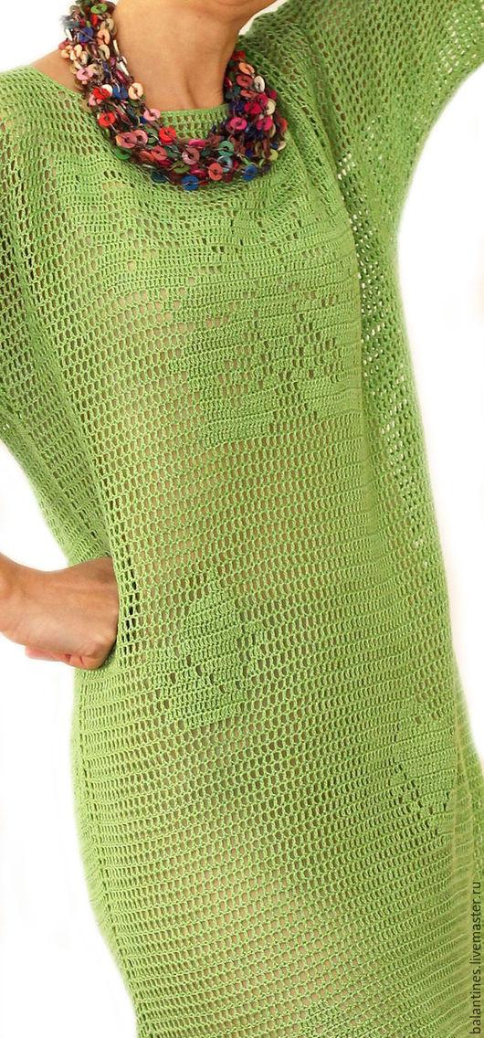 Платья ручной работы. Ярмарка Мастеров - ручная работа. Купить Платье-туника Бабочки вязаное крючком из хлопка  двухстороннее. Handmade.