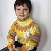 Работы для детей, ручной работы. Ярмарка Мастеров - ручная работа Удлиненный вязаный детский свитер на 4-5 лет  из акрила. Рост 104 см. Handmade.