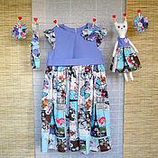 Работы для детей, ручной работы. Ярмарка Мастеров - ручная работа Платье с бабочками (сшито на заказ). Handmade.