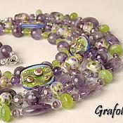 Украшения handmade. Livemaster - original item Long purple necklaces, Lilac spring. Handmade.