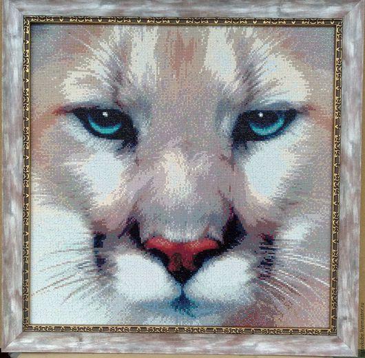 """Животные ручной работы. Ярмарка Мастеров - ручная работа. Купить Картина алмазной мозаикой """"Пума"""". Handmade. Комбинированный, алмазная вышивка"""
