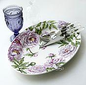 Посуда handmade. Livemaster - original item Painted porcelain Dish Lilac peonies. Handmade.