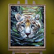 Картины ручной работы. Ярмарка Мастеров - ручная работа Купание белого тигра. Handmade.