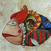 """Картины и панно ручной работы. Ярмарка Мастеров - ручная работа Картина маслом """"Цирковая рыба"""". Handmade."""
